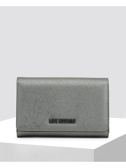 Grey Textured Button Closure Wallet