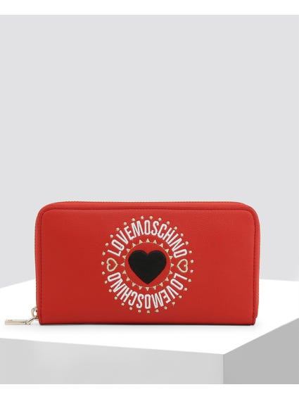 Red Heart Embroidered Zip Wallet