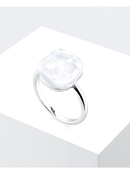 White Stone Love  Ring