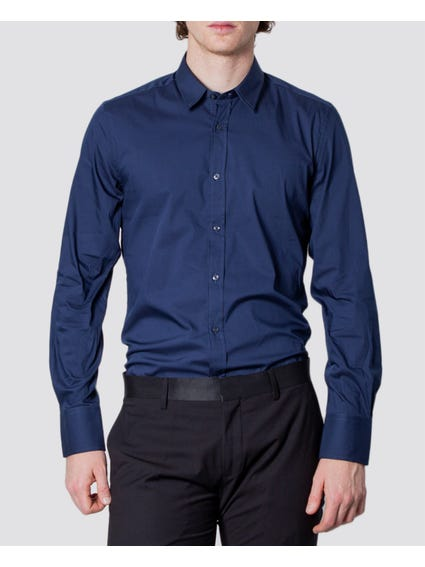 Blue Plain Long Sleeves Shirt