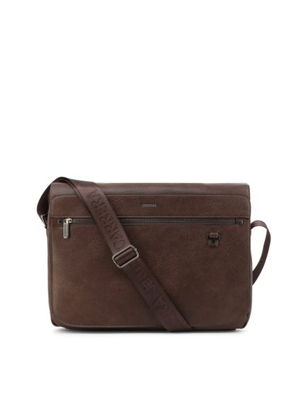Brown Leather Flap Zipper Briefcase