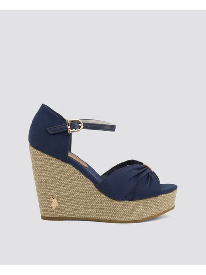 Blue Aylin Ankle Strap Wedge Sandals