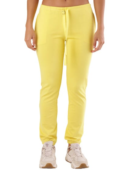 Yellow Plain Elastic Waist Trouser