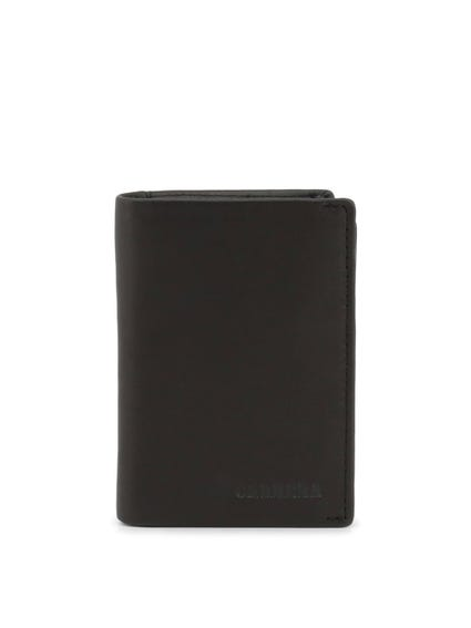 Black Marino Leather Bi Fold Wallet