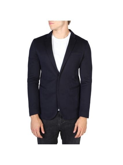 Blue Conceal Button Blazers