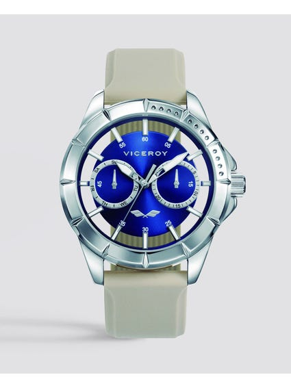 Antonio Blue Dial Silicon Strap Watch