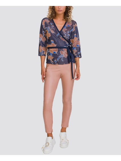 Pink Solid Color Elasticated Trouser