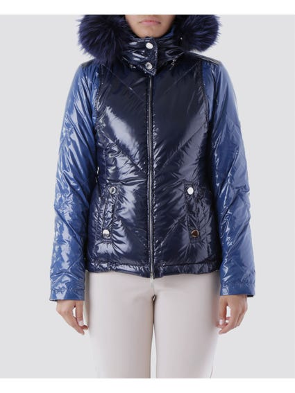 Blue Shiny Puffer Faux fur Hood Coat