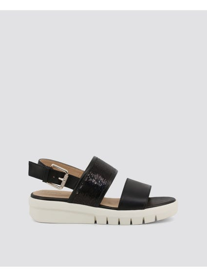 Black Wimbley Ankle Strap Sandals