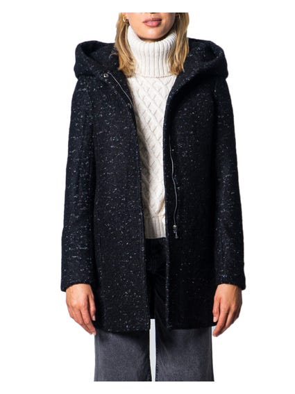 Open Front Zipper Hooded Coat