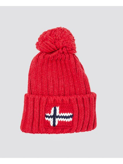 Red Pom Poms Knitted Beanie