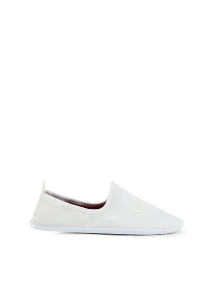 White Elastic Logo Slip On Shoes