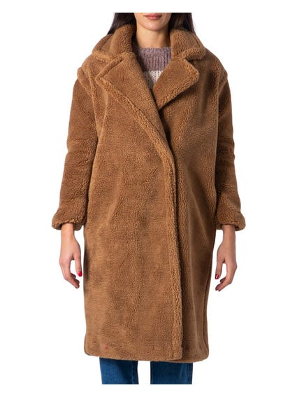Beige Evelin Long Teddy Coat