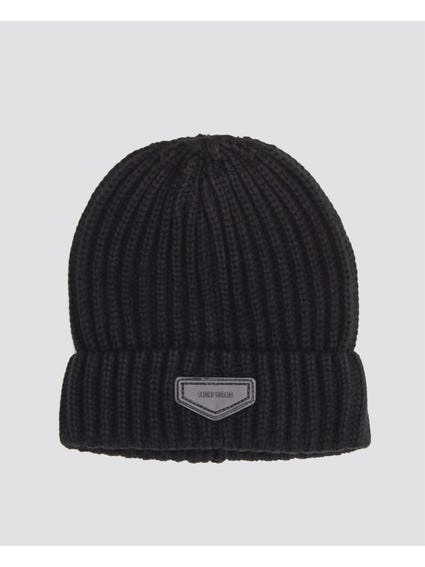 Black Knitted Patch Logo Beanie