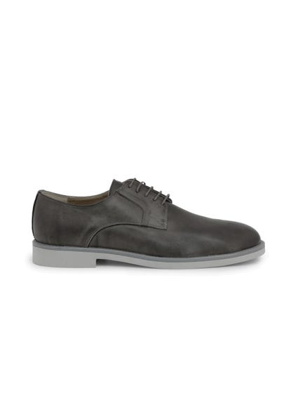 Grey Leather Pelle Lace Up Shoes