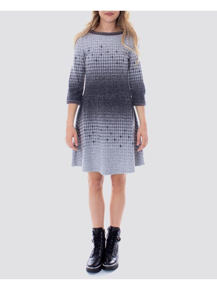 Crew Neck Platted Hem Dress