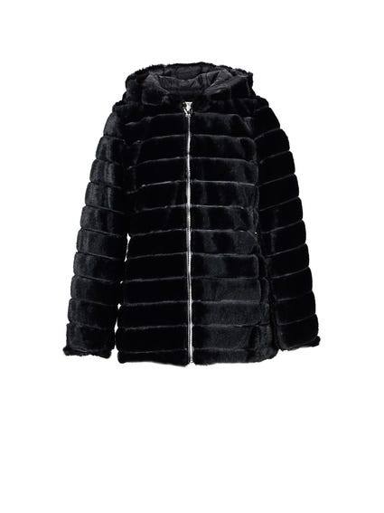 Hooded Fur Zipper Jacket
