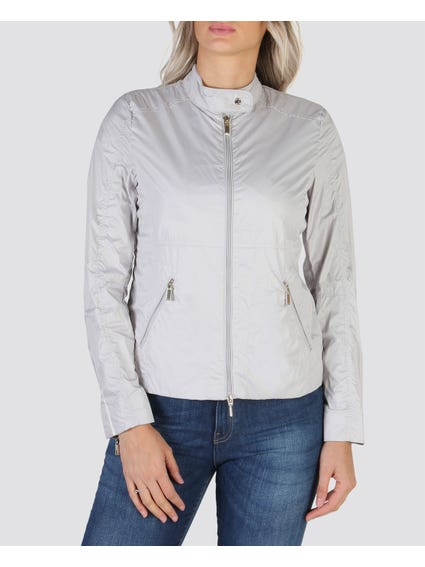 Grey Button Zip Bomber Jacket