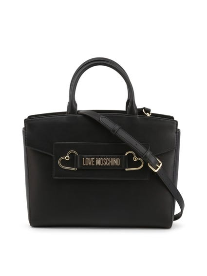 Black Leather Metal Heart Handbag