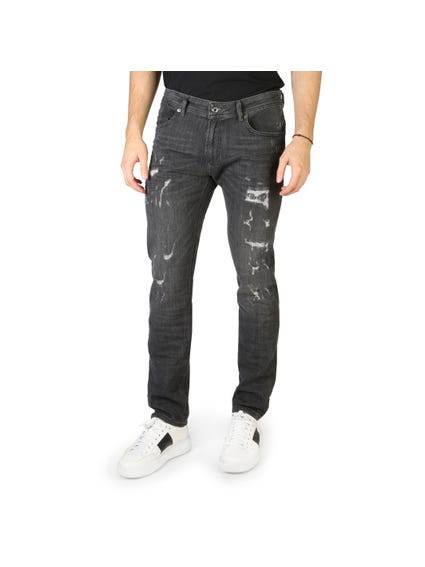 Denim Ripped Button Zip Jeans