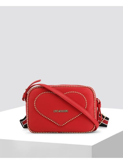 Red Heart Studs Crossbody Bag