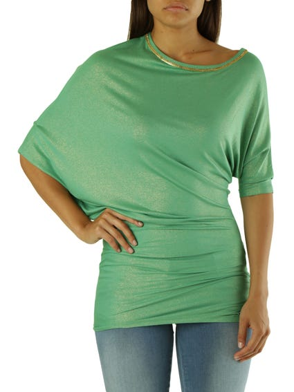 Green Wide Neck Knitted Top