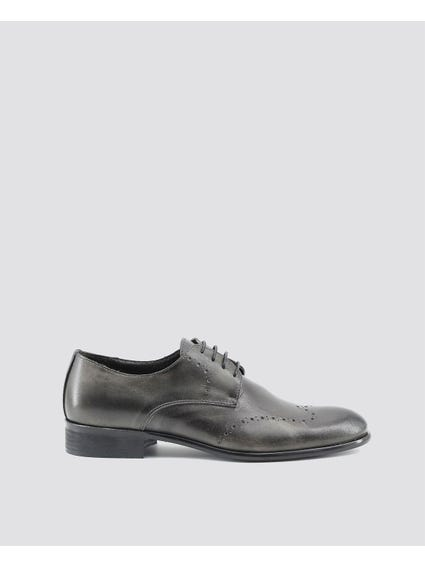 Black Lacer Open Work Brogue Shoes