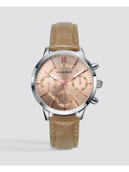 Trendy Pink Dial Leather Watch