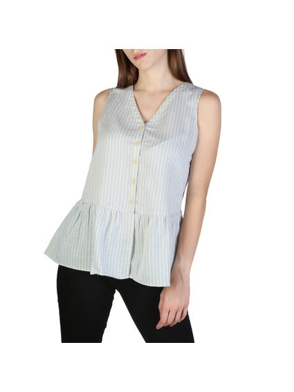 V- Neck Sleeveless Stripes Button Shirt