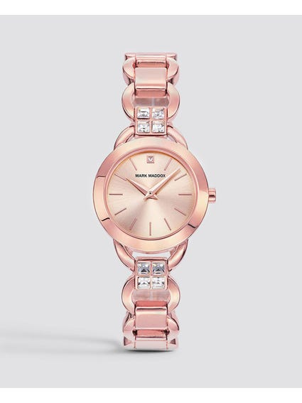 Rose Gold Crystal Analog Watch