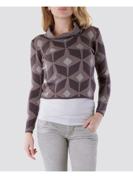 Brown Printed Sweater