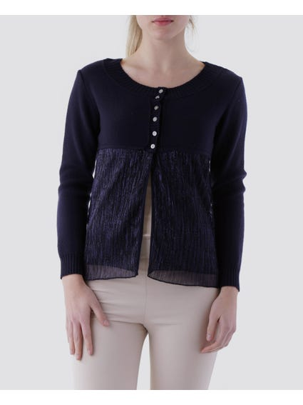 Blue Ribbed Finish Cardigan