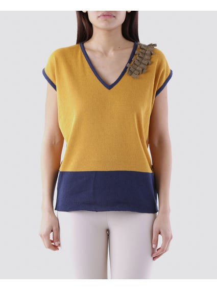 Yellow Patch Shoulder Top