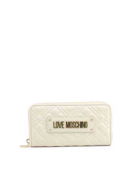 White Quilted Full Zip Wallet