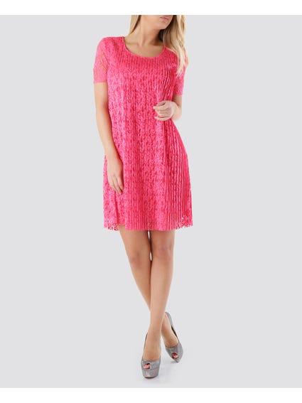 Short Sleeve Pattern Midi Dress