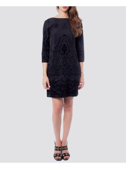 Black Embroidered V Cut Back Dress