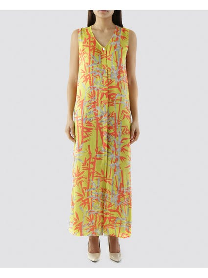 Yellow Tropical Print Dress
