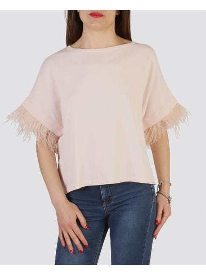 Pink Lace Hem Tops