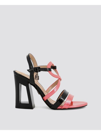 Pink Patent Cross Over Strap Sandals