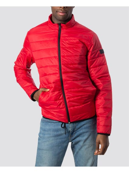 Red Quilted Full Zip Jacket