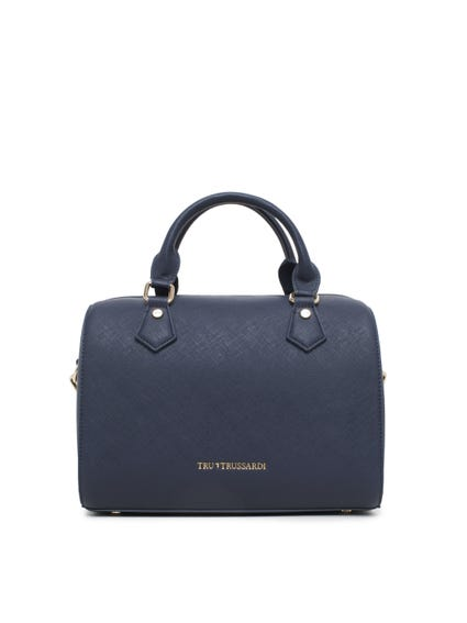 Blue Two Handle Leather Hand Bag