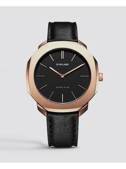 Rose Gold Super Slim Black Dial Watch