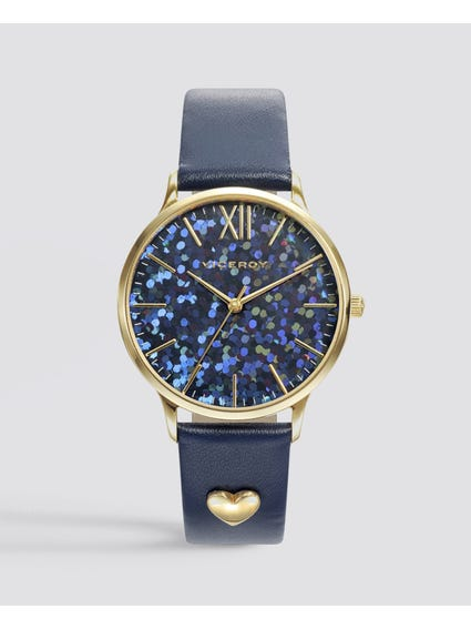 Kiss Blue Dial Leather Watch