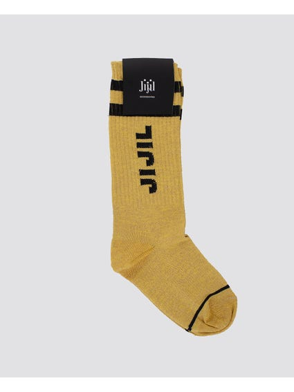 Khaki Patch Crew Kids Socks