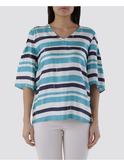 Wide Sleeves Striped Blouse