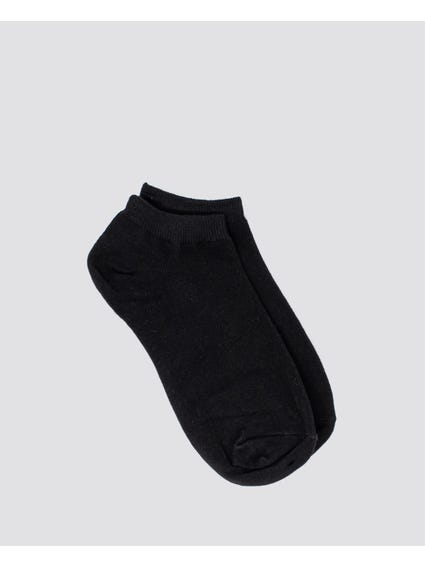 Black Plain Low Cut Socks
