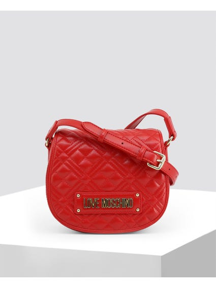 Red Quilted Signature Crossbody Bag