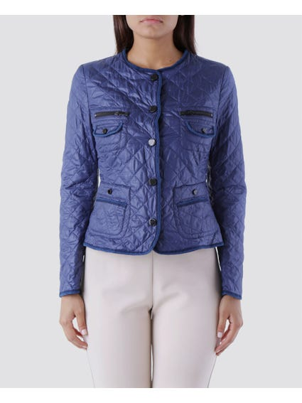 Blue Round Neck Button Zipper Pockets Blazer Jacket