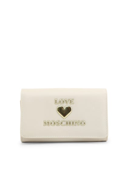 White Embossed Snap Wallet