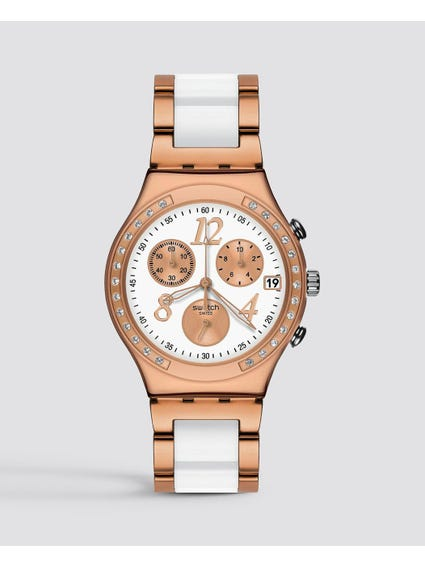 Irony Dream White Rose Chronograph Rose Gold-Tone Steel Watch